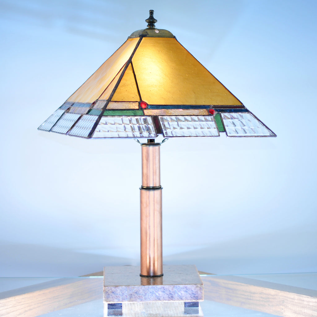 Large stained glass lamp made by Vermont artist Julia Brandis. Mission style / Prairie style.