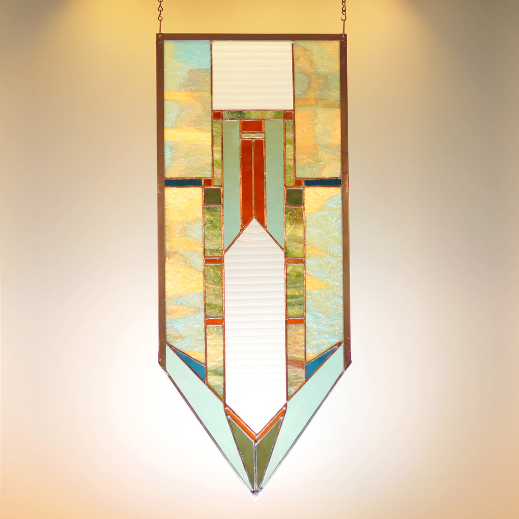 Large stained glass panel with architectural lines. Abstract, Mission style/  Prairie style