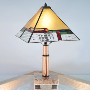 Small stained glass lamp/ lantern  with architectural lines. Mission style / Prairie style.