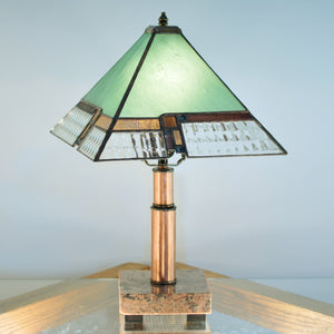Small stained glass lamp with architectural lines. Mission style / Prairie style.