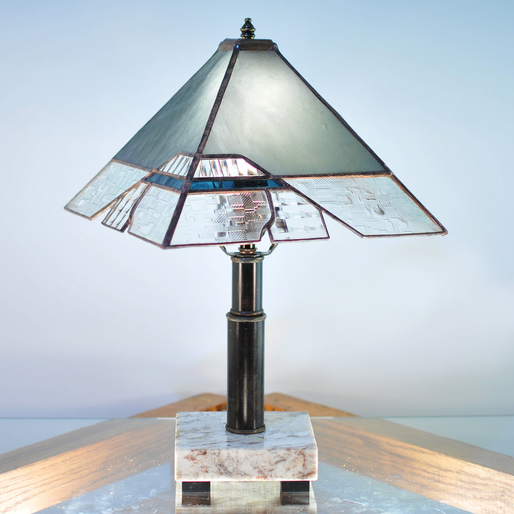 Small stained glass lamp with architectural lines. Abstract, Mission style / Prairie style.