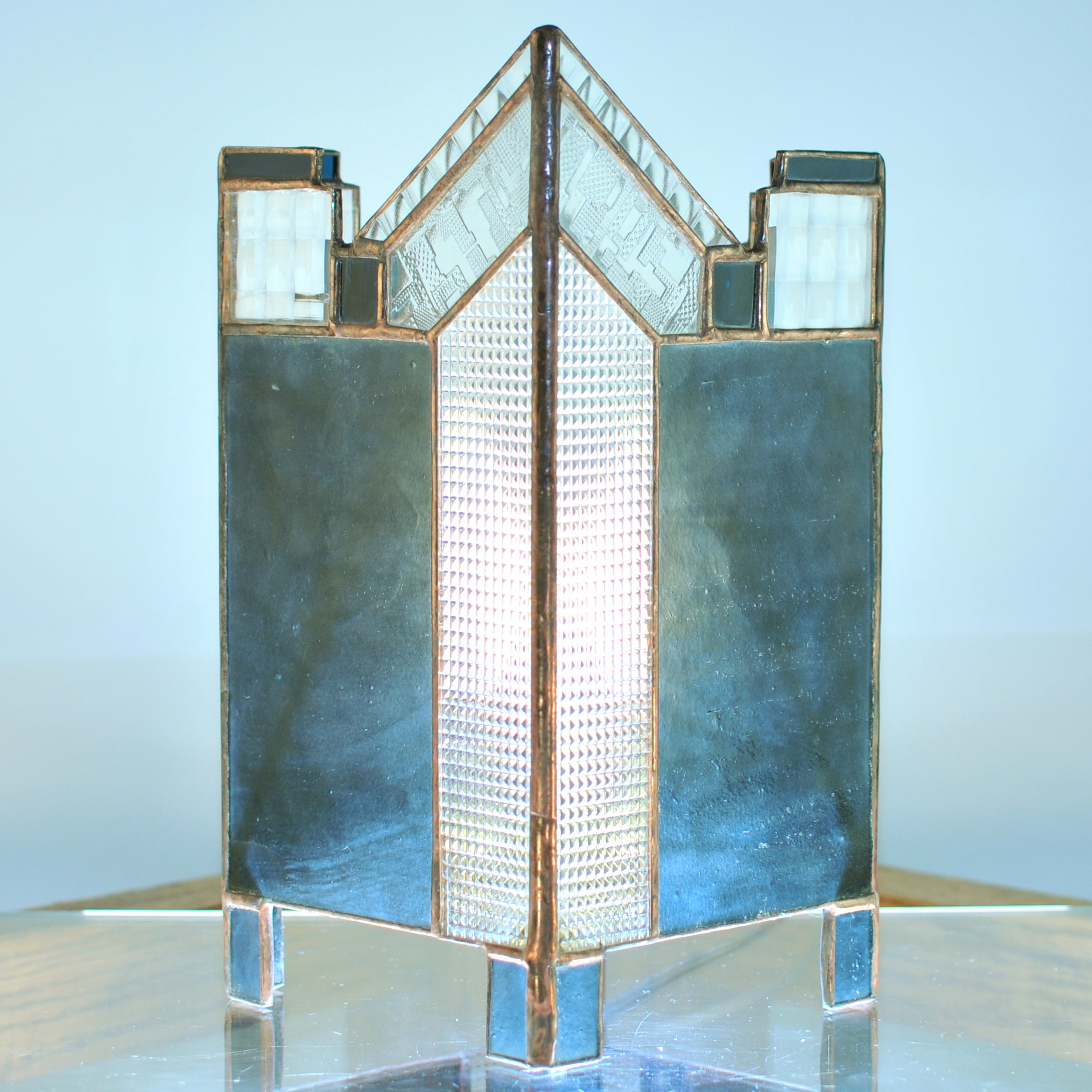 Small stained glass lamp/ lantern  with architectural lines. Abstract, Mission style / Prairie style.