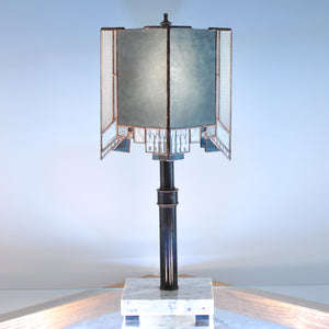 Large stained glass lamp made by Vermont artist Julia Brandis. Abstract, Mission style / Prairie style.