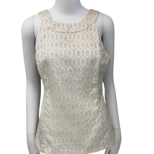 Sleeveless Top by Banana Republic size S - BRAND: BANANA REPUBLIC . SIZE: SMALL (6). STYLE: ZIPPER ON SIDE. COLOR: CREAM & GOLD. SKU: 40321000914.