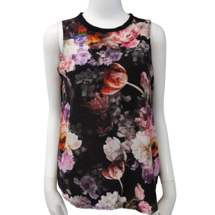 Sleeveless Top by One Clothing size S - BRAND: ONE CLOTHING . SIZE: SMALL. STYLE: SHEER BACK . COLOR: BLACK, COLORFUL FLOWERS . SKU: 40321017585.