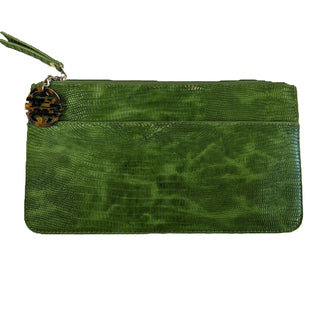 Clutch by Chico's size Medium - BRAND: CHICO'S. SIZE: MEDIUM. STYLE: ENVELOPE ZIPPERED CLUTCH, FAUX ALLIGATOR LEATHER WITH CHARM DETAIL AND OUTSIDE/INSIDE POCKETS. COLOR: GREEN, BROWN. SKU: 40321012843.