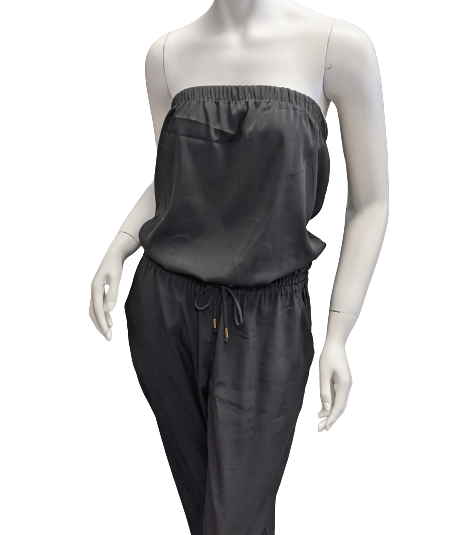 Romper Long Sleeveless by Express size S - <P>BRAND: EXPRESS</P> <P>SIZE: SMALL</P> <P>STYLE: STRAPLESS ROMPER WITH DRAWSTRING/ELASTIC WAIST AND STRAIGHT LEG PANTS WITH POCKETS</P> <P>COLOR: BLACK</P> <P>SKU: 40321025613</P>