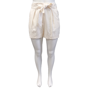 Shorts by H&M size 16 - BRAND: H&M. SIZE:16. STYLE: PAPER BAG HIGH WAIST, PLEATED SHORT FRONT POCKETS. ATTACHED BELT. COLOR: IVORY. SKU: 40321025506.