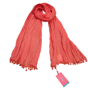 Scarf by Lindsay Phillips - BRAND: LINDSAY PHILLIPS. STYLE: THIN CRINKLE FABRIC SCARF WITH POM POM TRIM. COLOR: CORAL. SKU: 40321011334.