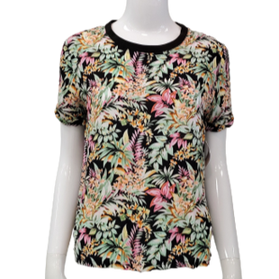 Top Short Sleeve by Timing Size M - BRAND: TIMING. STYLE: FLORAL T-SHIRT. COLOR: BLACK, GREEN, PINK. SIZE: MEDIUM. SKU: 40321020342.