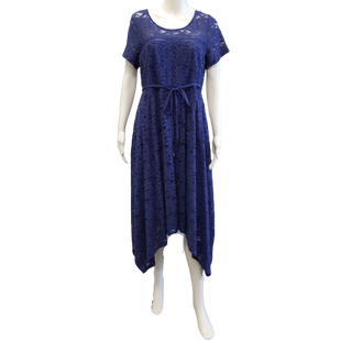 Short Sleeve Short Dress by Jessica Simpson size L - BRAND: JESSICA SIMPSON. SIZE: LARGE. STYLE: SHORT SLEEVE LACE SKATER DRESS WITH HANDKERCHIEF HEM. COLOR: INDIGO. SKU: 40321029570.