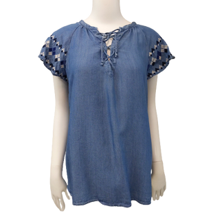 Short Sleeve Top by Old Navy size S - BRAND: OLD NAVY. SIZE: SMALL. STYLE: DENIM SHIRT WITH EMBROIDERY ON THE SLEEVES AND DRAWSTRING FRONT. COLOR: BLUE, WHITE, BLACK. SKU: 40321009871.