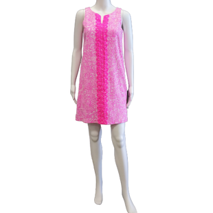 Sleeveless Short Dress by Lily Pulitzer size XL - BRAND: LILY PULITZER. SIZE: XL. STYLE: SLEEVELESS SHIFT DRESS WITH DETAIL EMBROIDERY ALONG THE FRONT. TEXTURED FABRIC . COLOR: PINK, WHITE. SKU: 40321025854.