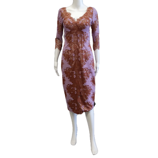 Long Sleeve Dress by JS Collections size S - BRAND: JS COLLECTIONS. SIZE: SMALL. STYLE: LACE FITTED DRESS WITH BUILT IN BRA, ZIP UP BACK, MIDI LENGTH. COLOR: PURPLE, BROWN. SKU: 40321027771.