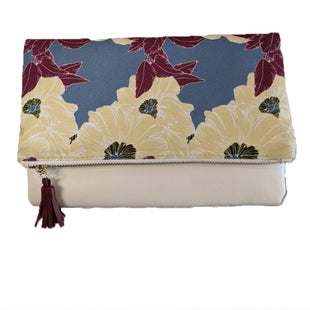 Clutch by Rachel Pally size Medium - BRAND: RACHEL PALLY. SIZE: MEDIUM. STYLE: FOLDOVER ZIPPERED CLUTCH WITH TASSEL DETAIL, INSIDE POCKET, FLORAL PRINT CANVAS AND SOLID COLOR FAUX LEATHER. COLOR: CREAM, BLUE, YELLOW, MAROON, GREEN. SKU: 40321024052.