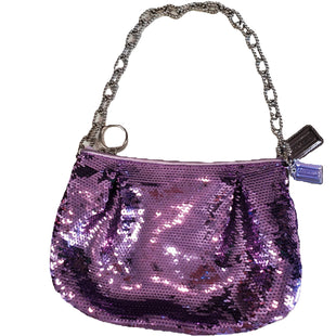 Designer Handbag by Coach Size S - BRAND: COACH. STYLE: HANDBAG WITH CHAIN SHOULDER STRAP AND ZIP CLOSURE, SEQUINED FABRIC. COLOR: PURPLE, SILVER. SIZE: SMALL. SKU: 40321024395.