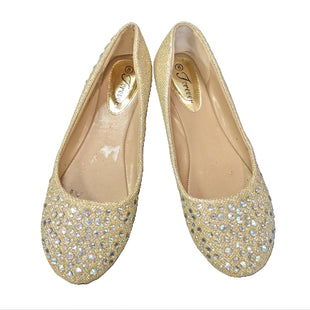Flats by Forever size 8 - BRAND: FOREVER. SIZE: 8. STYLE: BALLET FLATS, GEM STUDS AND SPARKLE FABRIC. COLOR: GOLD, DIAMOND. SKU: 40321010435.