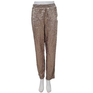 Pants by Chico's Size L - BRAND: CHICO'S. STYLE: THE ULTIMATE FIT - PULL ON VELVET ANKLE PANTS WITH ELASTIC WAIST. COLOR: TAN WITH SEQUINS. SIZE: LARGE (CHICO'S SIZE 2). SKU: 40321019060.