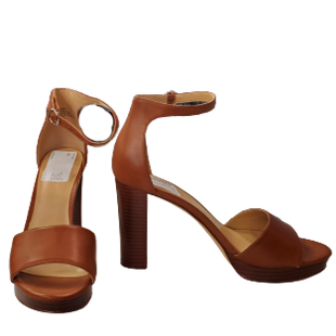 Sandals High Heel by Nine West Size 8.5 - BRAND: NINE WEST. STYLE: PLATFORM SANDAL WITH ANKLE STRAP. COLOR: BROWN. SIZE: 8.5. SKU: 40321029517.