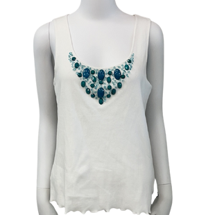 Sleeveless Top by Ruby Rd. size S - BRAND: RUBY RD.. SIZE: SMALL. STYLE: LETTUCE TRIM. . COLOR: WHITE & TURQUOISE ROCKS  . SKU: 40321016807.
