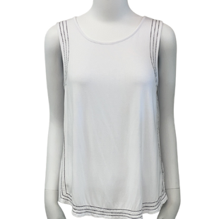 Sleeveless Top by Cable & Gauge size S - BRAND: CABLE & GAUGE . SIZE: SMALL. STYLE: BASIC TANK WITH DETAILED BLACK HEMMING . COLOR: WHITE & BLACK. SKU: 40321020759.