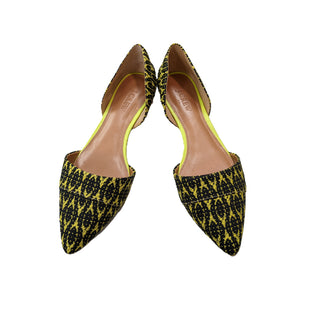 Flats by J Crew size 8 - BRAND: J CREW. SIZE: 8. STYLE: POINTED TOE FLATS, WOVEN EMBROIDERED FABRIC. COLOR: GREEN, BLACK. SKU: 40321027728.