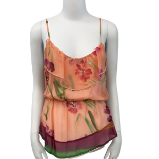 Sleeveless Top by Sweetees size S - BRAND: SWEETEES . SIZE: SMALL. STYLE: SHEER WITH LIGHT PINK UNDERSHIRT , SCRUNCHED WAIST LINE . COLOR: CORAL. SKU: 40321021214.