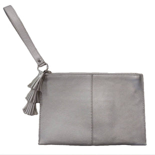 Wristlet by INC Medium - BRAND: INC. STYLE: ZIPPER TOP, FAUX LEATHER WITH TASSEL DETAIL. COLOR: SILVER. SIZE: MEDIUM. SKU: 40321012845U.