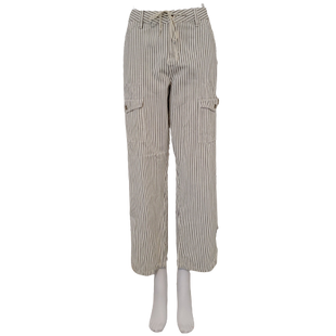 Pants by DKNY Jeans Size 14 - BRAND: DKNY JEANS. STYLE: CROP WITH DRAWSTRING WAIST. COLOR: GRAY AND WHITE STRIPE. SIZE: 14. SKU: 40321004507.