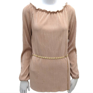 Top Long Sleeve by New Made USA Size L - BRAND: NEW MADE USA. STYLE: LONG SLEEVE WITH RUFFLE NECK AND BELT WAIST. COLOR: ROSE. SIZE: LARGE. SKU: 40321003799.