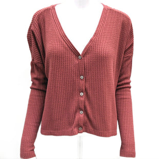 Top Long Sleeve by Wild Fable Size S - BRAND: WILD FABLE. STYLE: WAFFLE KNIT BUTTON UP CARDIGAN TOP. COLOR: MAROON/DUSTY ROSE. SIZE: SMALL. SKU: 40321007695.