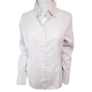 Shirt Long Sleeve by Brooks Brothers - BRAND: BROOKS BROTHERS. STYLE: STRIPED LONG SLEEVE SHIRT. COLOR: BLUE, WHITE. SIZE: MEDIUM. SKU: 40321008886.  .