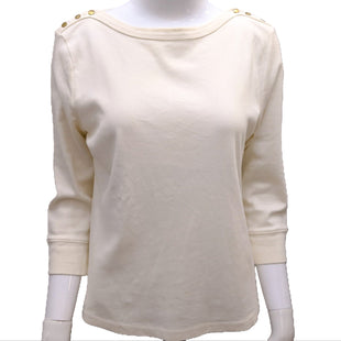 Top Long Sleeve by Ralph Lauren Size L - BRAND: RALPH LAUREN. STYLE: LONG SLEEVE WITH BUTTON DETAIL ON SHOULDER. COLOR: CREAM AND GOLD. SIZE: LARGE. SKU: 40321012266.