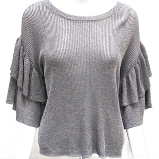 Top Short Sleeve by H&M size XS - BRAND: H&M. STYLE: SHORT RUFFLED SLEEVE, GLITTER THREAD. COLOR: SILVER AND GRAY. SIZE: X-SMALL. SKU: 40321015592.