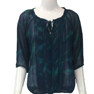 Top Long Sleeve by Express Size XS - BRAND: EXPRESS. SIZE: XS. STYLE: SHEER BLOUSE WITH CUTOUT AT NECKLINE. COLOR: NAVY, GREEN. SKU: 40321017918.