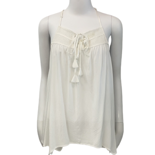 Sleeveless Top by She+Sky size S - BRAND: SHE+SKY. SIZE: SMALL. STYLE: SHIRRED, TIE KEY HOLE. COLOR: WHITE . SKU: 40321014605.