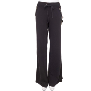 Pants by Twisted Heart Size L - BRAND: TWISTED HEART. STYLE: SWEATPANTS WITH DRAWSTRING WAIST. COLOR: BLACK AND SILVER. SIZE: LARGE. SKU: 40321016242.