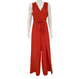 Romper Long Sleeveless by Emma & Michele Size 12 - BRAND: EMMA & MICHELE. STYLE: SLEEVELESS LONG ROMPER. COLOR: RED . SIZE: 12 (LARGE). SKU: 40321028208.