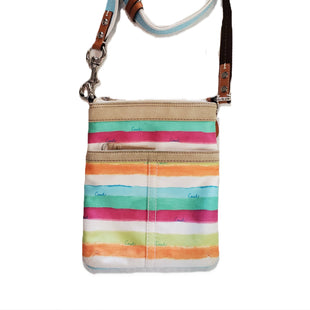 Designer Handbag by Coach Size S - BRAND: COACH. STYLE: CANVAS CROSSBODY BAG WITH ADJUSTABLE BODY STRAP AND ZIP CLOSURE. COLOR: RAINBOW AQUAMARINE GREEN. SIZE: SMALL. SKU: 40321015027.