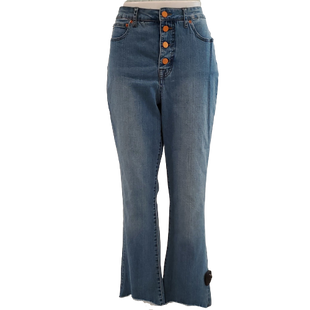 Jeans by For the Republic Size 12 - BRAND: FOR THE REPUBLIC. STYLE: FLARE LEG. COLOR: LIGHT DENIM WITH FRAYED HEM. SIZE: 12. SKU: 40321029064.