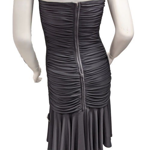 Dress Short Sleeveless by Tadashi size L - <P>BRAND: TADASHI</P> <P>SIZE: LARGE</P> <P>STYLE: RUCHED FITTED DRESS WITH LONG RUFFLE FLOUNCE ALONG HEM, HALTER NECKLINE ZIP UP BACK</P> <P>COLOR: BLACK</P> <P>SKU: 40321006897</P>