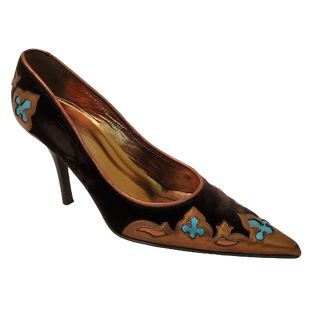 Shoes High Heel by Donald J Pliner size 8.5 - BRAND: DONALD J PLINER . STYLE: POINTED TOE VELVET PUMPS. COLOR: BROWN, GOLD AND BLUE. SIZE: 8.5. SKU: 40321027084.