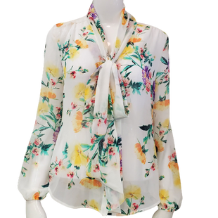 Top Long Sleeve by New York & Co Size XS - BRAND: NEW YORK & CO. STYLE: FLORAL LONG SLEEVE WITH TIE NECK. COLOR: WHITE, GREEN AND PINK. SIZE: X-SMALL. SKU: 40321028393.