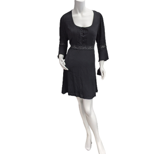 Dress Short by Want and Need size XL - BRAND: WANT AND NEED. STYLE: LONG FLOUNCE SLEEVE BOHO DRESS, BUTTONS ON FRONT AND A LINE SKIRT WITH LACE DETAILS. COLOR: BLACK. SIZE: XL. SKU: 40321013786.