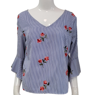 Top Long Sleeve by Flores Size L - BRAND: FLORES . STYLE: TIE NECK WITH FLARE, RUFFLE SLEEVES. COLOR: BLUE, WHITE, PINK AND GREEN. SIZE: LARGE. SKU: 40321007322.
