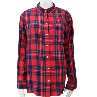 Top by Old Navy size XL - BRAND: OLD NAVY. STYLE: PLAID BUTTON DOWN. COLOR: RED, NAVY TARTAN PLAID. SIZE: X-LARGE. SKU: 40321010747.