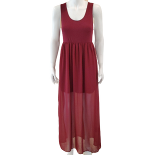 Dress Long Sleeveless by Forever 21 Size L - BRAND: FOREVER 21 . STYLE: SHORT MINI SKIRT WITH LONG OVERLAY. COLOR: RED. SIZE: LARGE. SKU: 40321028676.
