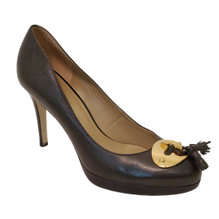 Shoes High Heel by Talbots size 10 - BRAND: TALBOTS . STYLE: ROUND TOE PLATFORM WITH TASSEL DETAIL. COLOR: BROWN AND GOLD. SIZE: 10. SKU: 40321028048.