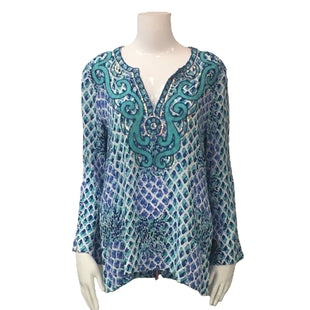 Shirt Long Sleeve by Lilly Pulitzer Size Small - BRAND: LILLY PULITZER. STYLE: LONG SLEEVE SHIRT . COLOR: AQUA BLUE. SIZE: SMALL. SKU: 40321010945.