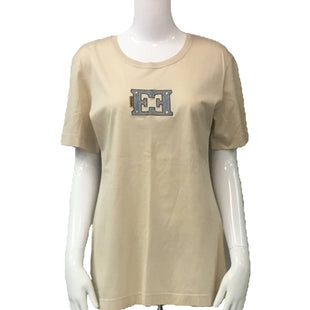 Shirt Short Sleeve by Escada Size S - BRAND: ESCADA. STYLE: SHIRT SHORT SLEEVE TOP. COLOR: TAN, BLUE. SIZE: SMALL. SKU: 40321016530.